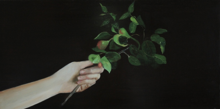 'A gift from a garden, fertility' - oil on gesso panel - by Arabella Caccia