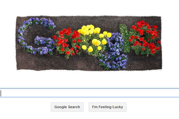 flower logo on google home page koekalooks